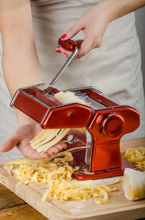 semolina pasta: Chef production pasta -  Italian pasta grinder, wood board, rolling-pin, all made from semolina flour