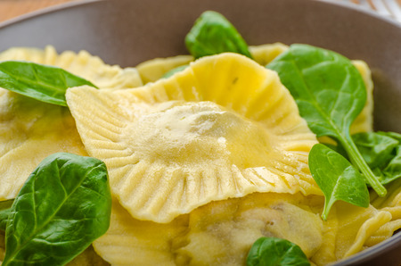 semolina pasta: Homemade ravioli stuffed with spinach and ricotta, all home prepared