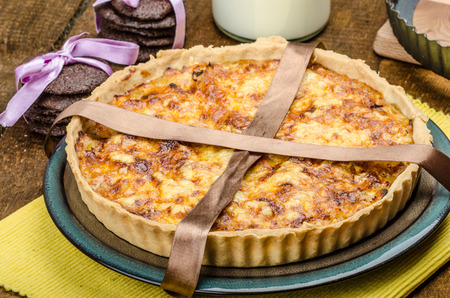 frence: Vegetarian quiche and biscuits dark chocolate, all homemade
