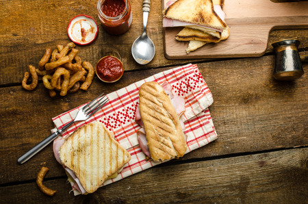 monte cristo: Quick dinner, toast with ham and cheese - panini, english toast, french with butter, dessert delicious churros