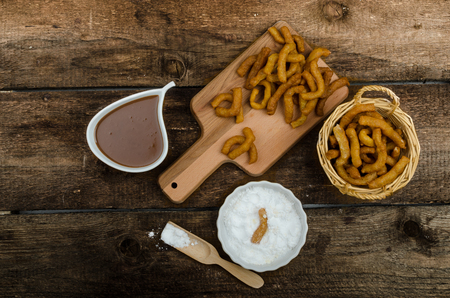 churros: Churros with chocolate dip - Streed food, deep fried, delicious, but heavy street food.