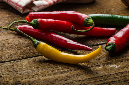 chilli: chilli peppers, various kinds of space for advertising text Stock Photo