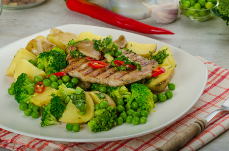 Healthy Pork Escalope with Super Greens, broccoli, peas, pork and potato photo