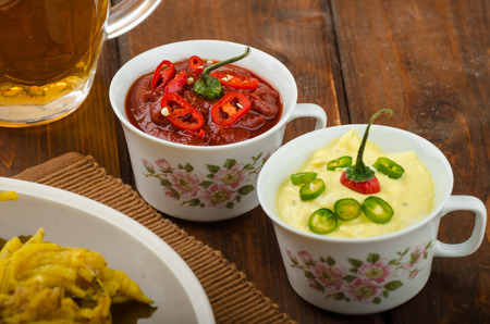 onion bhaji: Onion bhajis, czech beer and two sauces - hot and creamy