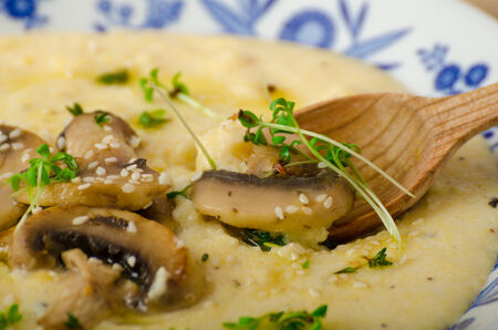ed: Rosemary and chilli infused polenta with saut�ed mushrooms, bio organic healthy food with microgreens and seeds