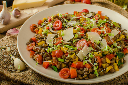 Warm salad of lentils, bio healthy, diet food, vegetarian, parmesan shavings and microgreens