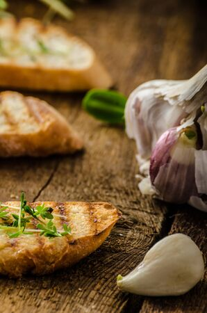 Garlic toast toasted panini sprinkled in microgreens, everything pure organic, eat clean photo