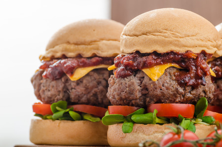 sliders: Beef Sliders with homemade barbecue sauce, cheddar, cherry tomatoes and microgreens