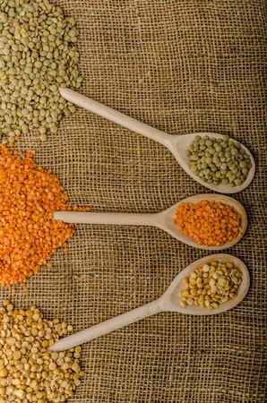 Variations lentils, lentils bio, product stock photo Standard-Bild