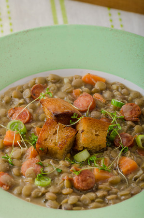 viennese: Lentil soup with Viennese sausage and croutons