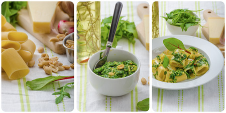 sterbliche: Rigatoni mit Knoblauch und Kr�utern Pesto, hausgemachtem Pesto in einem Sterblichen, k�stlich, collage, wie es geht