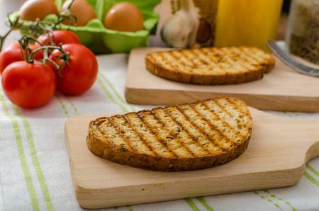 advertisment: Baked panini toast - empty, ready for advertisment - space for it