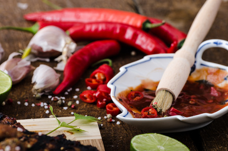 spicy marinade with chilli, honey and beer photo