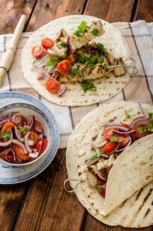 Turkey kebab with parsley salsa, kebab grilled, delicious salsa