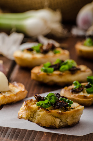 sprinkled: Mini toasts with garlic and dried tomato, sprinkled with herbs