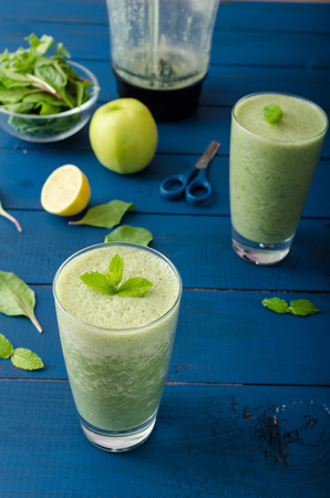 chive: Fresh herbs smoothie - chive, lemon, arugula, spinach, fresh blended Stock Photo