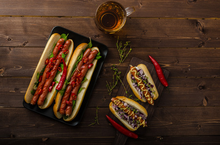 nice hot dogs with beer
