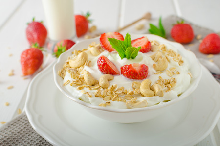 milk shake: Domestic yogurt with granola strawberries, milk shake