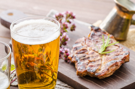 meat grill: Grilled pork meat with beer