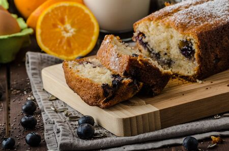 chia seed: Blueberry yogurt sweet bread with chia seed Stock Photo