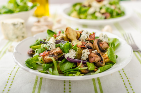 salad dressing: Salad with new potatoes and blue cheese, bacon, olive oil and great dressing from dijon mustard