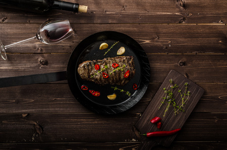 fillet steak: Beef steak with herbs and chilli Stock Photo