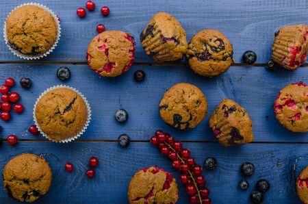 red velvet: Homemade muffins made from rye flour with red velvet and blueberries Stock Photo