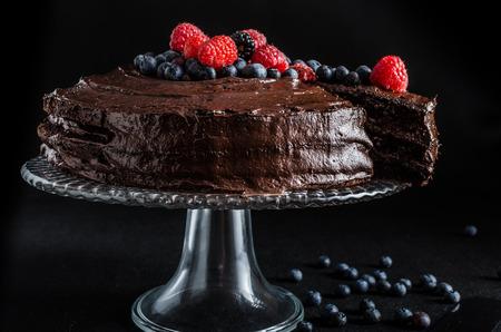 Three flour chocolate cake with berries