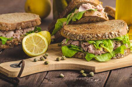wholegrain mustard: Tuna sandwich, capers, seed bread, lemon juice for freshness, little bit of dijon mustard and olive oil