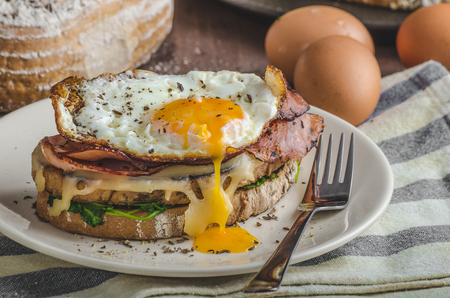 Croque madame delicious french breakfast with ham, cheese, egg and spinach with garlic Stock Photo