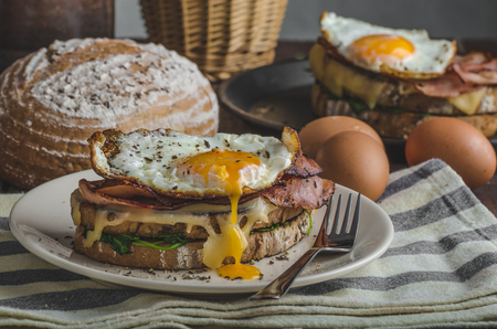 Croque madame delicious french breakfast with ham, cheese, egg and spinach with garlic Archivio Fotografico