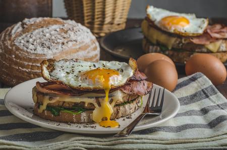 prima colazione: Croque madame deliziosa colazione francese con prosciutto, formaggio, uova e spinaci con aglio Archivio Fotografico
