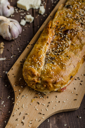 and savory: Savory strudel with ham, cheese and garlic