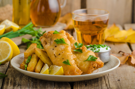 fish chips: Fish and chips. Fish wrapped in beer batter, herbs dip and czech beer