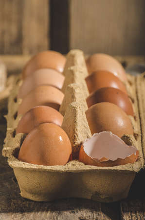 advertisment: Domestic organic eggs, product photo, place for your advertisment or text Stock Photo