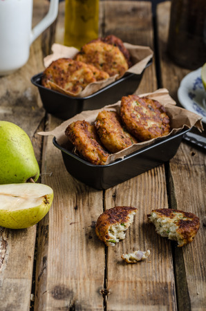 fresh food fish cake: Delicate pear and blue cheese pancakes