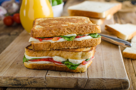 Delicious Italian sandwich, chorizo, mozzarella, salad with fresh orange juice