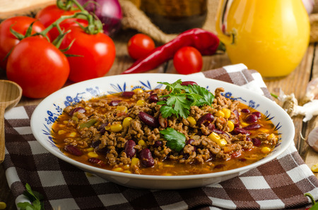 meat food: Original Chilli con carne from beer meat