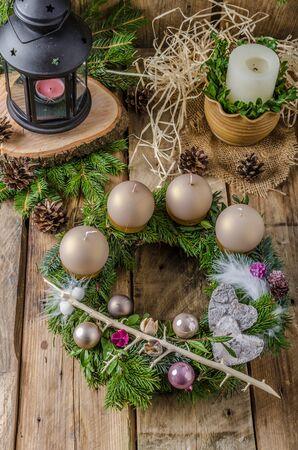 advent wreath: Christmas advent wreath, homemade Stock Photo
