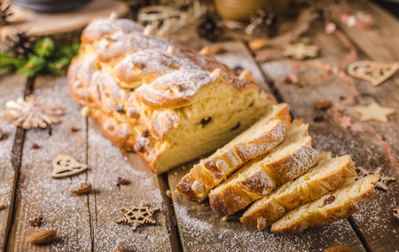 stock photo traditional czech christmas cake vanocka delicious breakfast for whole family full of nuts and almonds