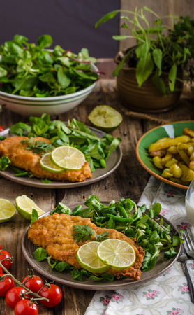 viennese: True Viennese schnitzel with little salad and lime, french fries and beautiful cherry tomatoes Stock Photo