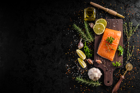 Fresh salmon fillet with lemon, herbs and spices, place for your advertising