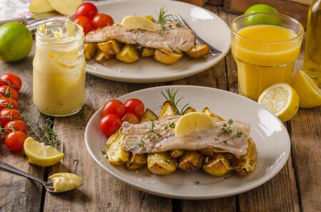 rainbow trout: Baked rainbow trout with roasted potatoes and homemade mayonnaise