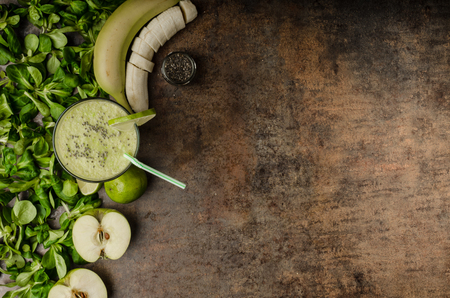 fruits juice: Delicious green smoothie with apples, lime and chia seeds Stock Photo