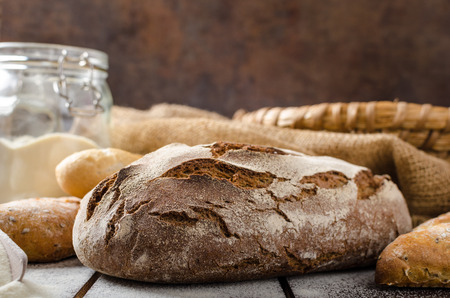 Fresh Farmer rustic style bread with pastry, baked in oven from leaven