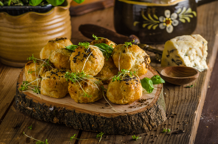 balls deep: Cheesy bites with blue cheese and pepper - baked in oven, delicious snack for visit