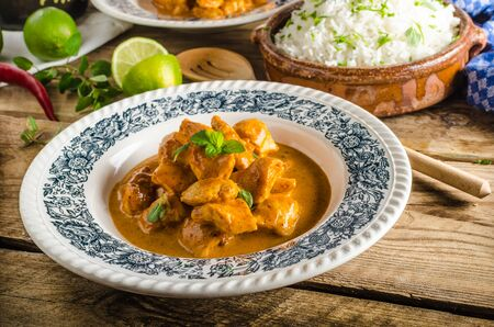 basmati rice: Curry chicken with basmati rice, delicious and spicy food, fresh herbs, very simple to make Stock Photo