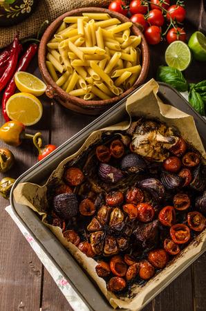 balsamic: Vegetarian baked vegetables with balsamic vinegar, bio organic vegetables