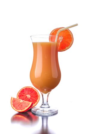 advertisment: Red orange juice isolated with reflection on white, place for your advertisment Stock Photo