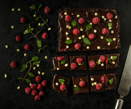 chocolate brownies with mint, raspberry and white chocolate